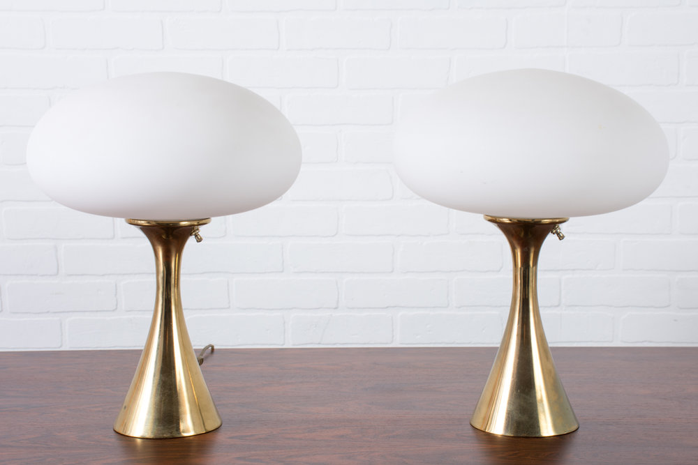 Laurel Lamp Pair, Mushroom Shade with Brass Base, 1960s
