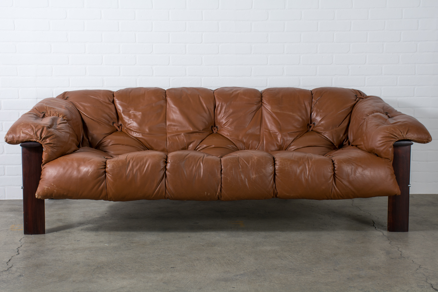 Percival Lafer Leather Sofa, Brazil, 1960s