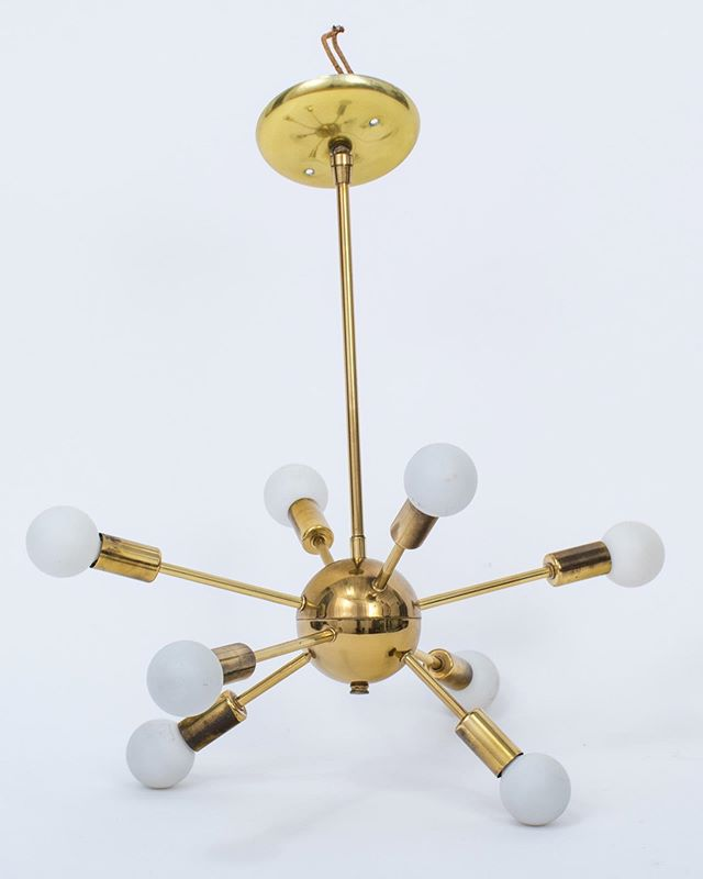 There are many new sputnik lamps out there, but we prefer vintage. Now available at MidCenturyModernFinds.com. . . . . #midcenturylamp #sputnik #gold #goldlamp #brasslamp #vintagelamp #midcenturymodern #mcmhome