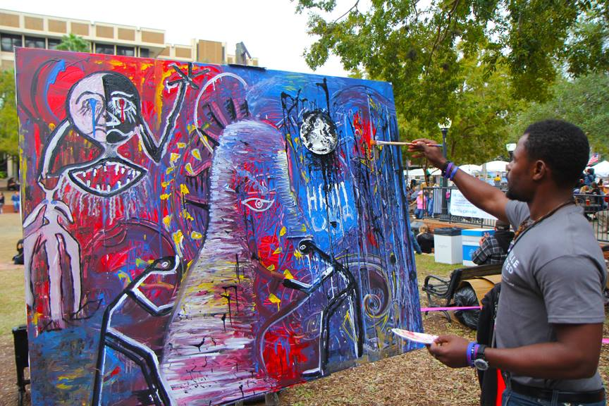 Painting live at the Gainesville Downtown Arts Festival.