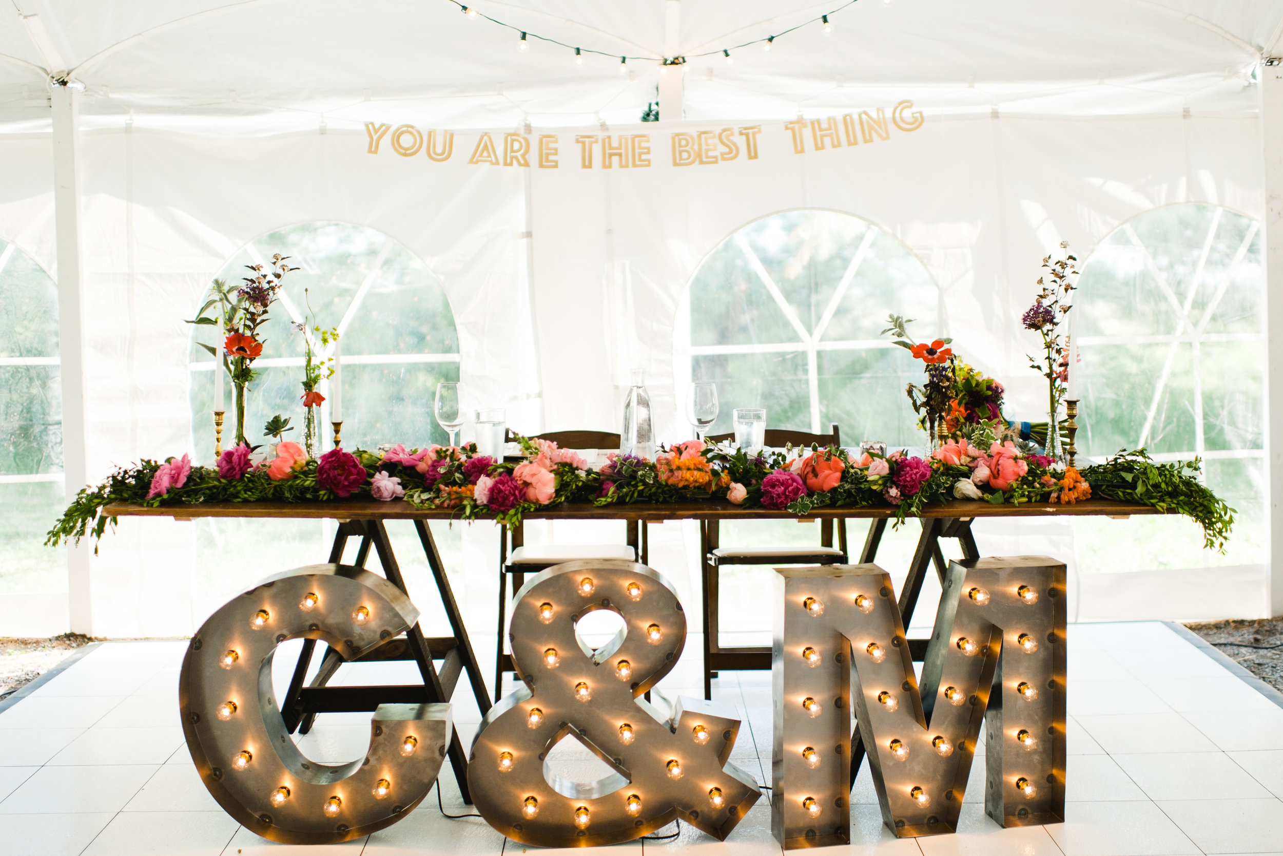 Peony garland for head table