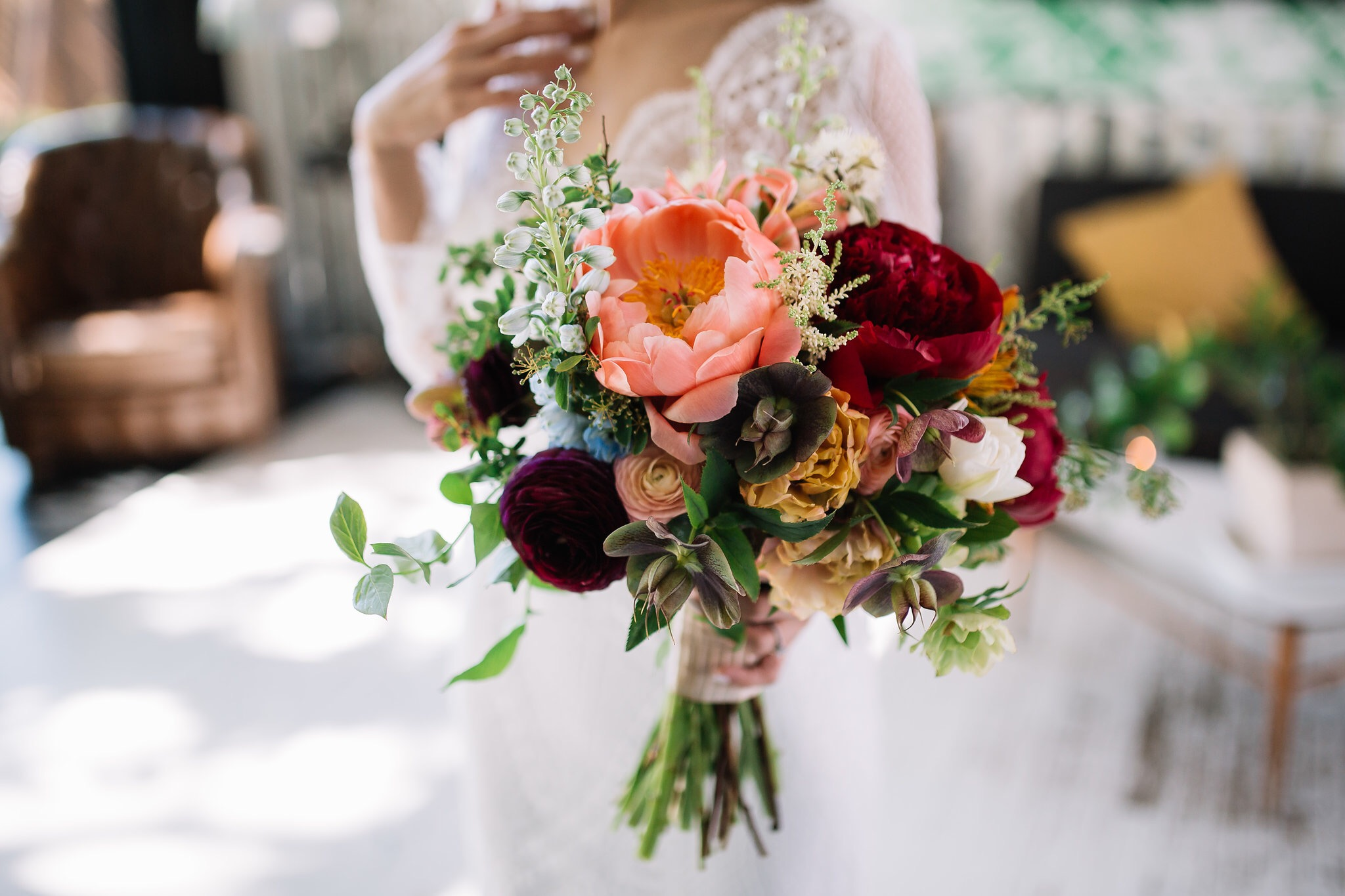 Colourful Bridal Bouquet in June