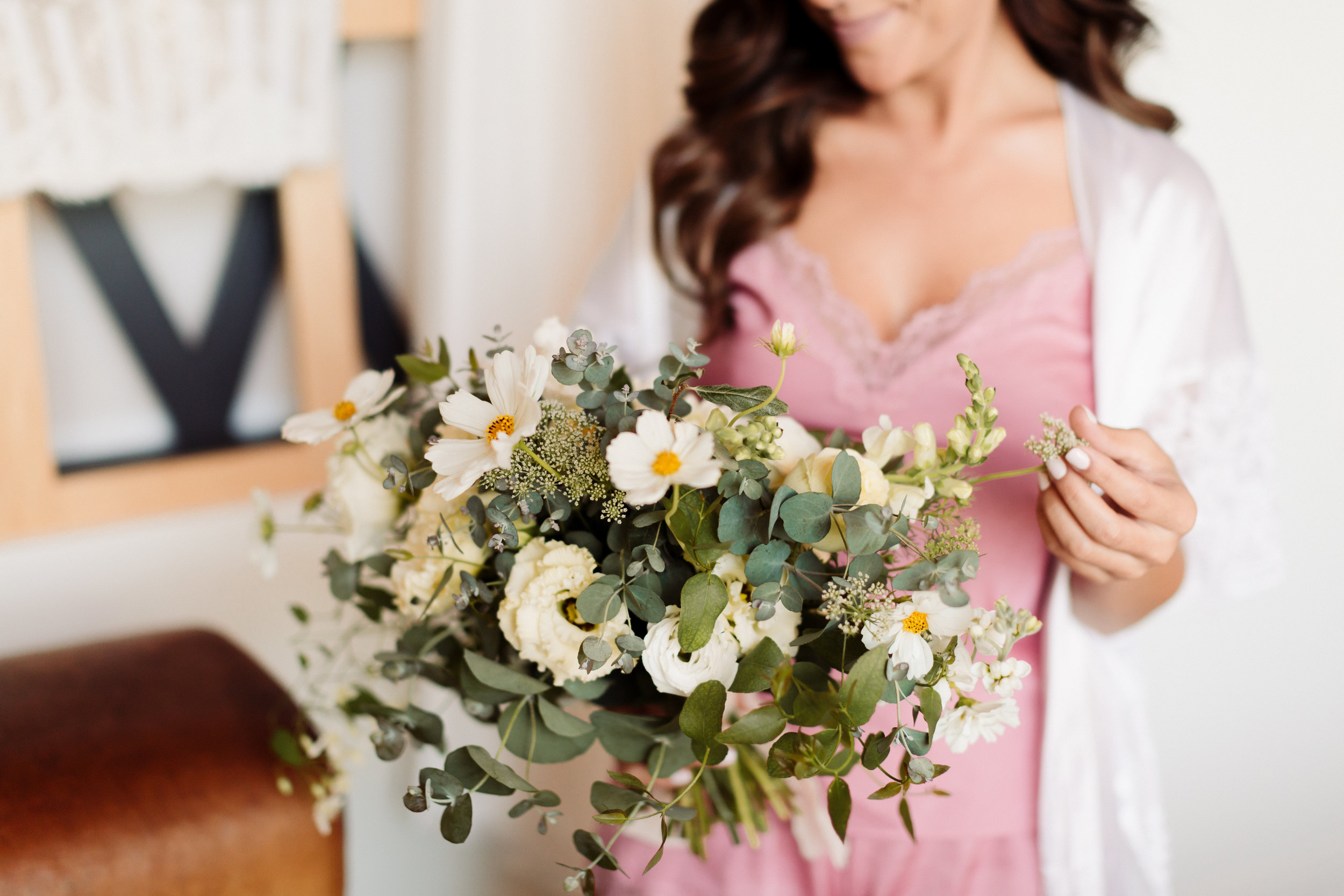 Delicate White Bridal Bouquet in August