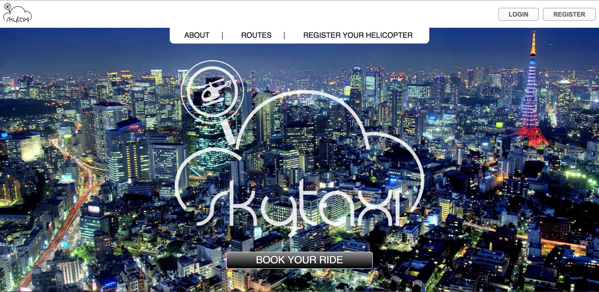 The landing page for skytaxi.com, which was conceived at Tokyo International Startup Weekend 2015 in cooperation with Brian Schwind.