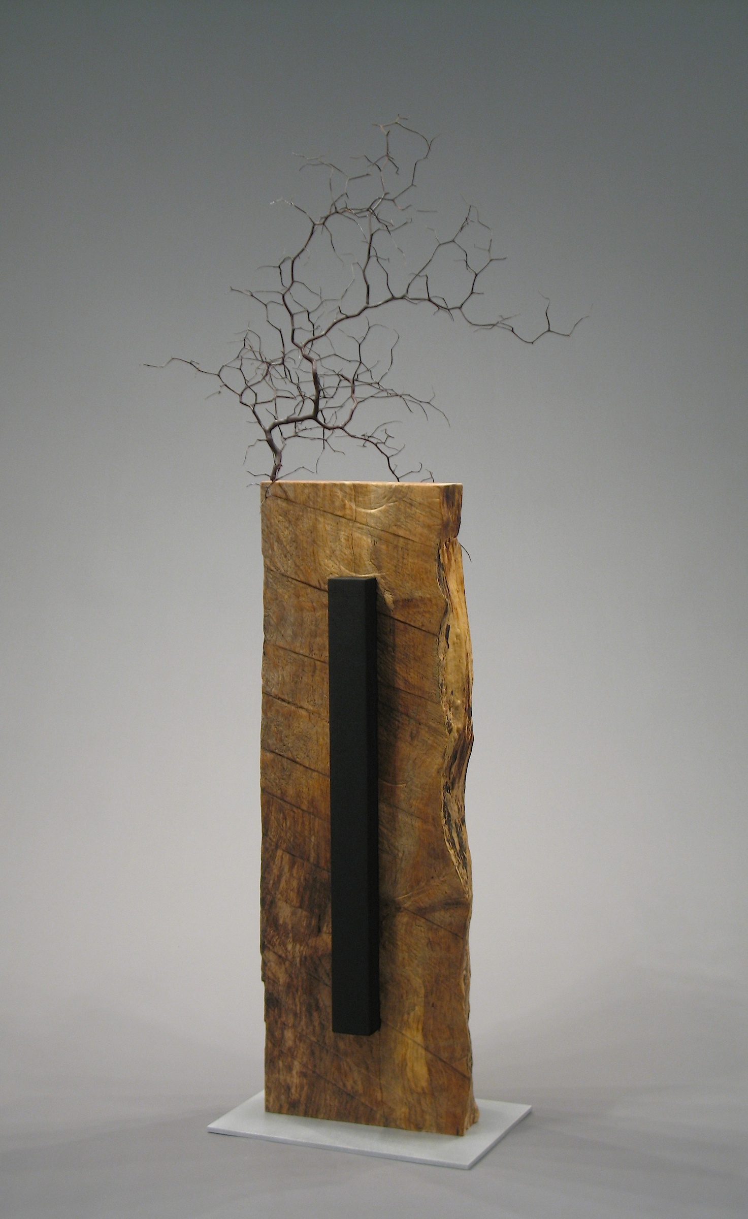 Ikebana Black and Blue  - side 2 wood, aluminum
