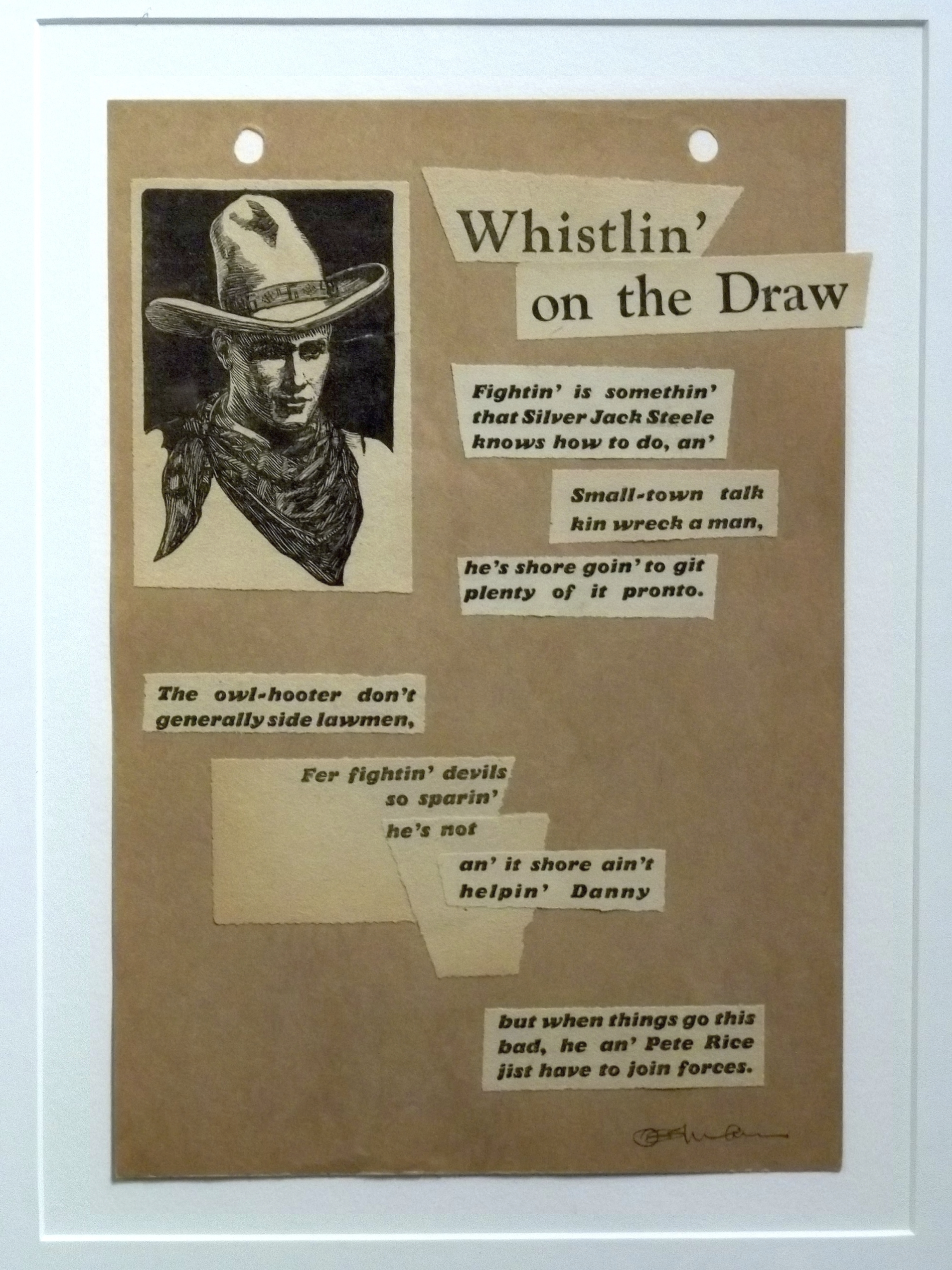 """Whistlin' on the Draw  collage 10 x 8"""" framed $300"""