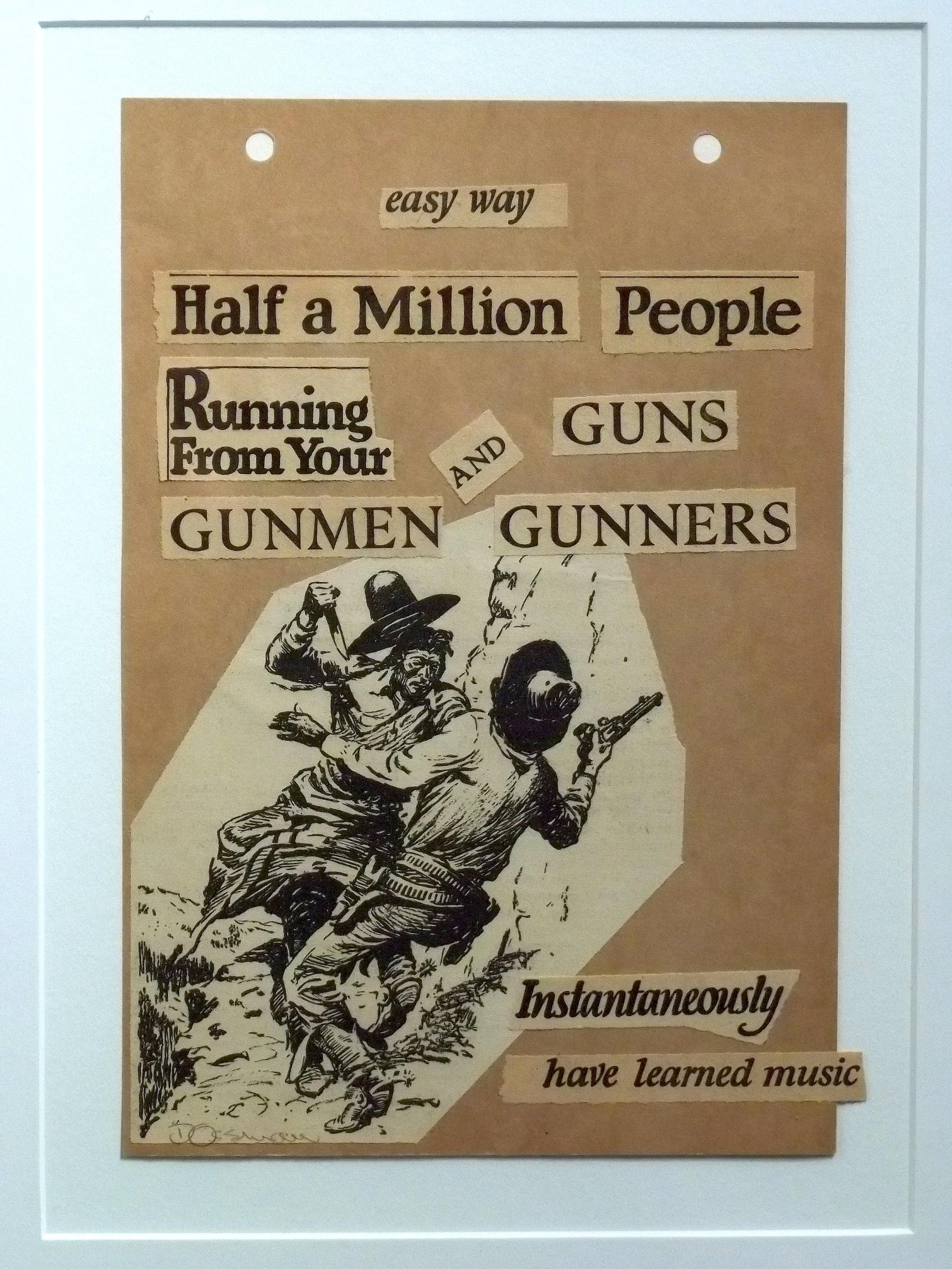 "Guns & Gunners   collage   10 x 8""  framed   $300"