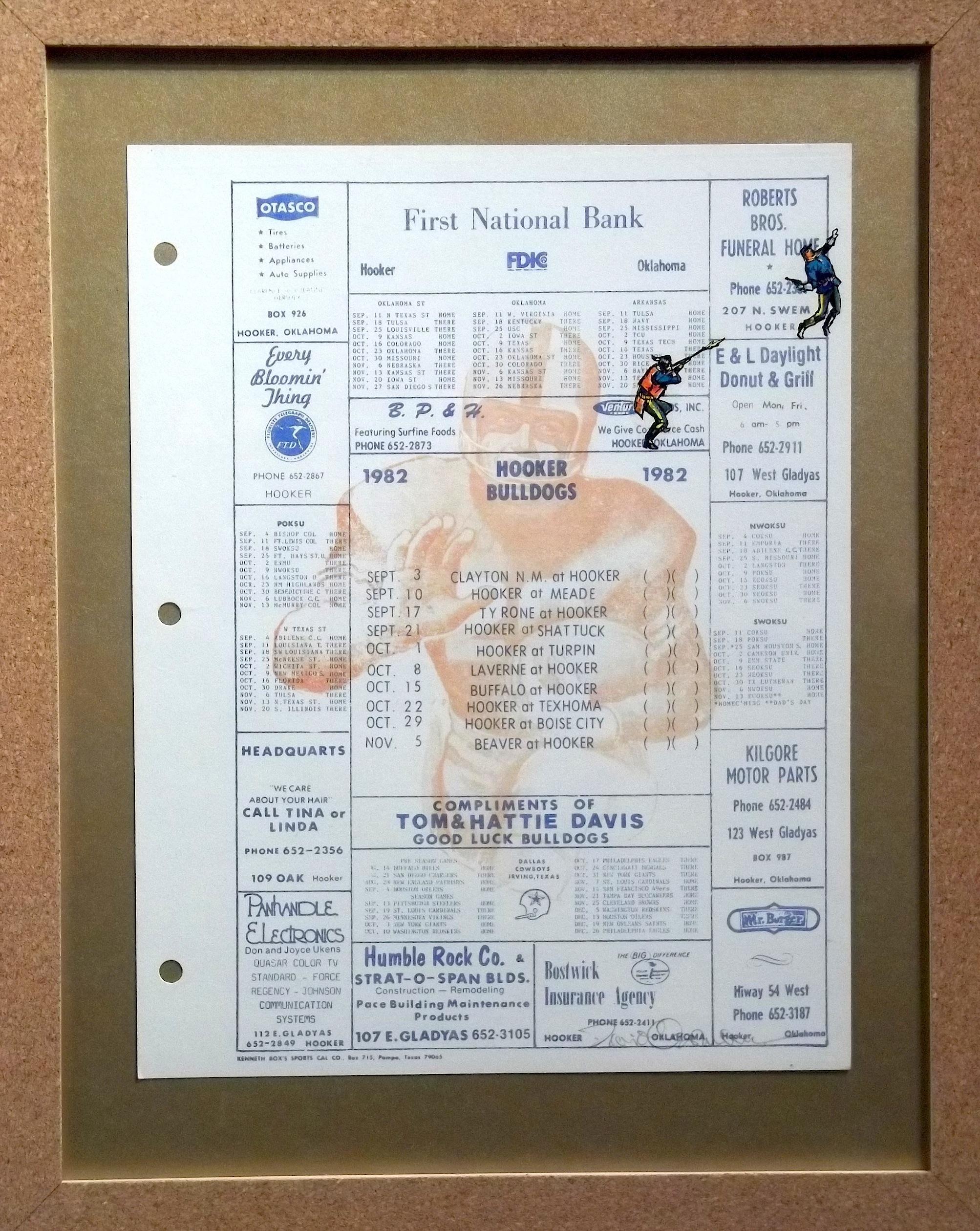 """Good Luck Bulldogs  vintage handbill, transfer figures 14 x 11""""  framed $350"""