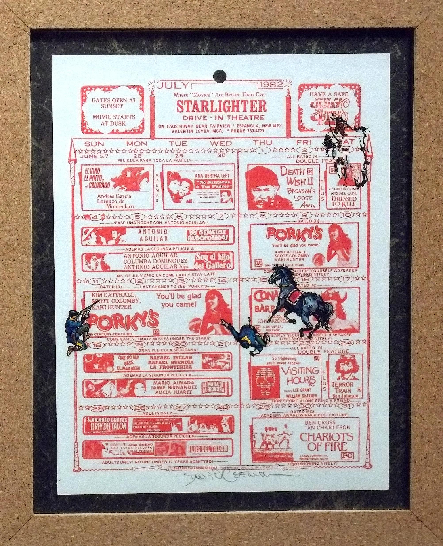 """Ghost Horse at Porky's  vintage handbill, transfer figures 14 x 11""""  framed $350"""