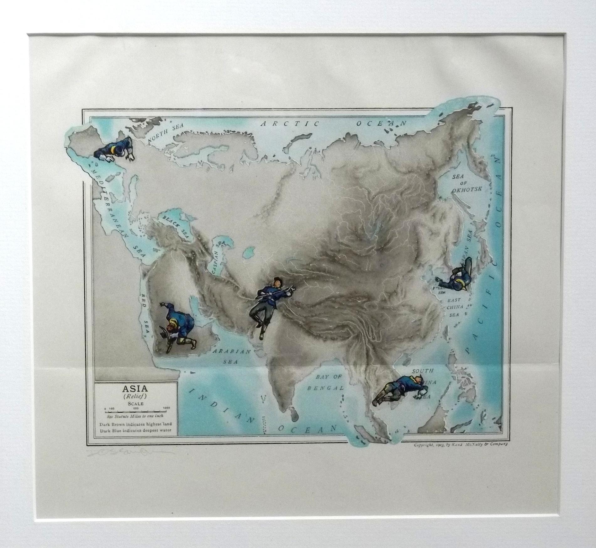 "Asia (no relief)  vintage map, transfer figures 8 x 10"" framed $350"