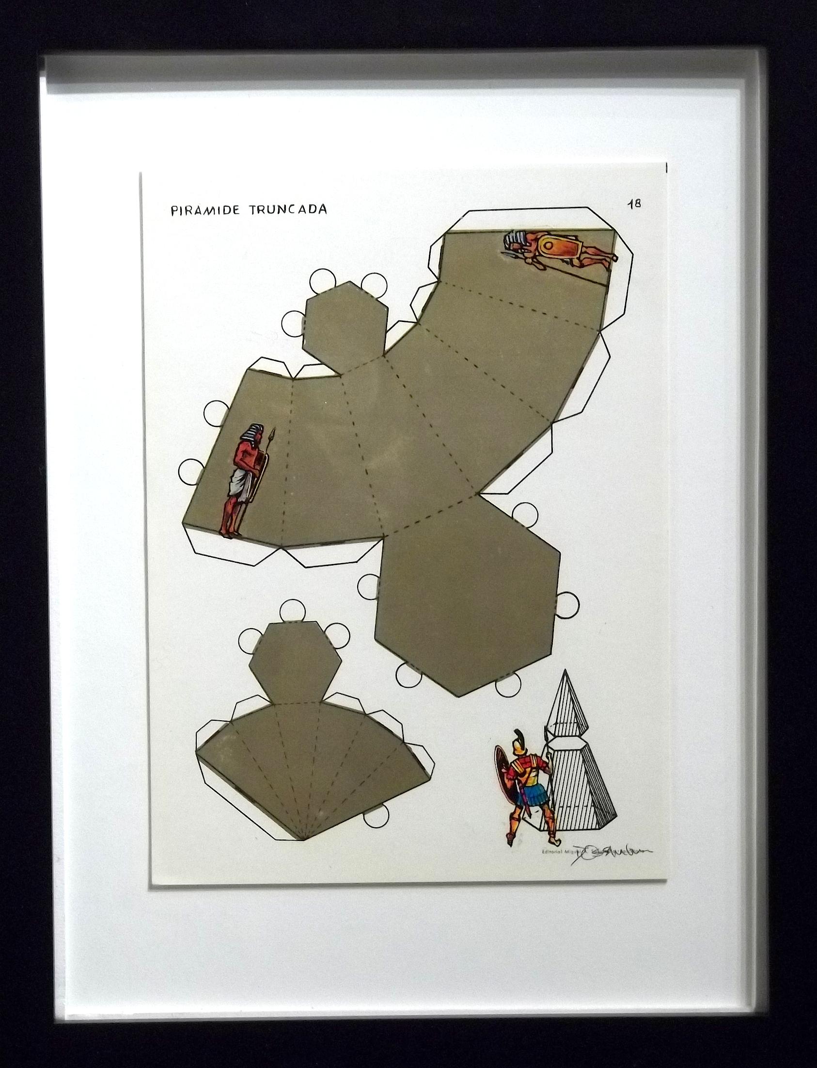 "Piramide Truncada  vintage Spanish geometry workbook, transfer figures  9 x 7""  framed $250"