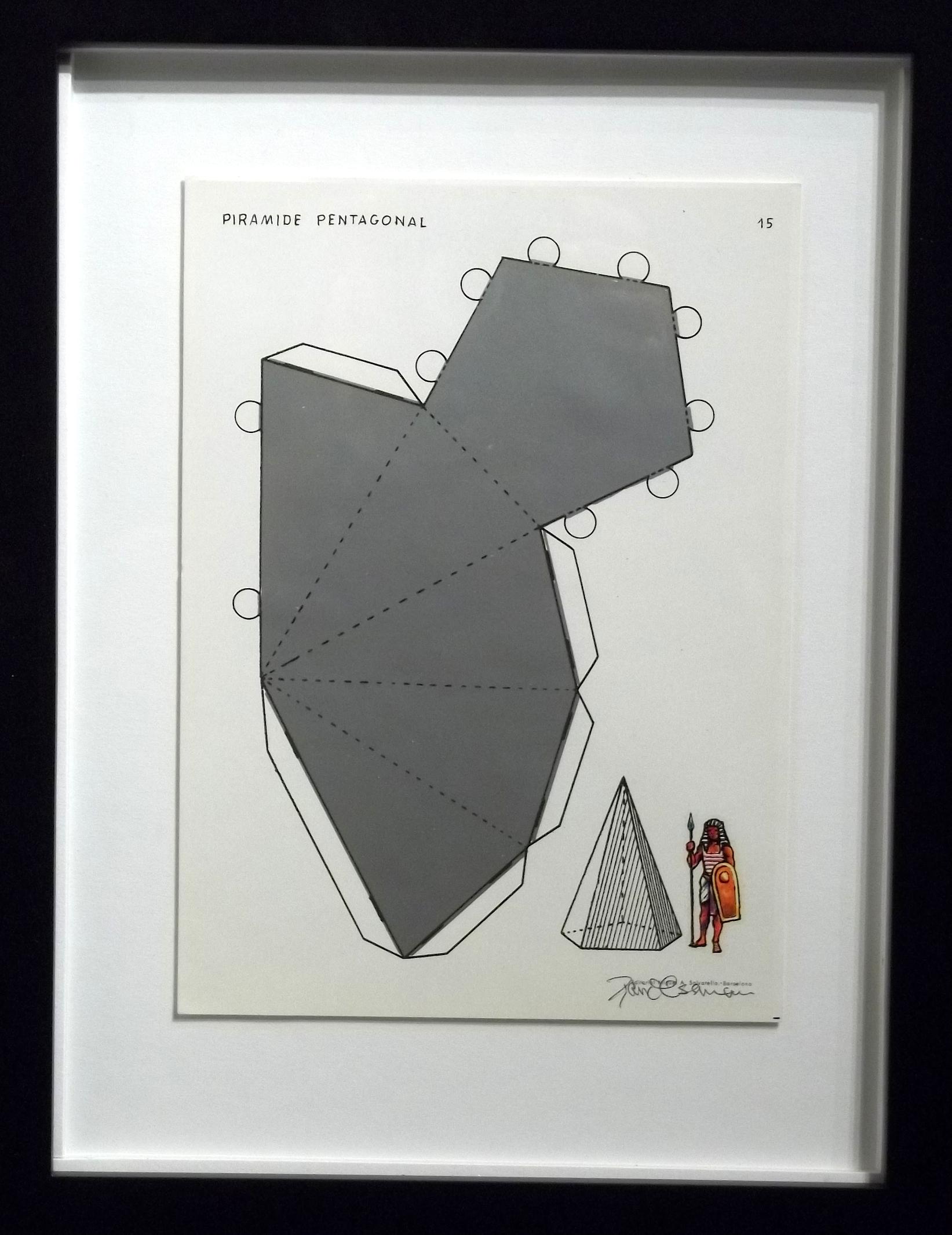 "Piramide Pentagonal  vintage Spanish geometry workbook, transfer figures  9 x 7""  framed $250"
