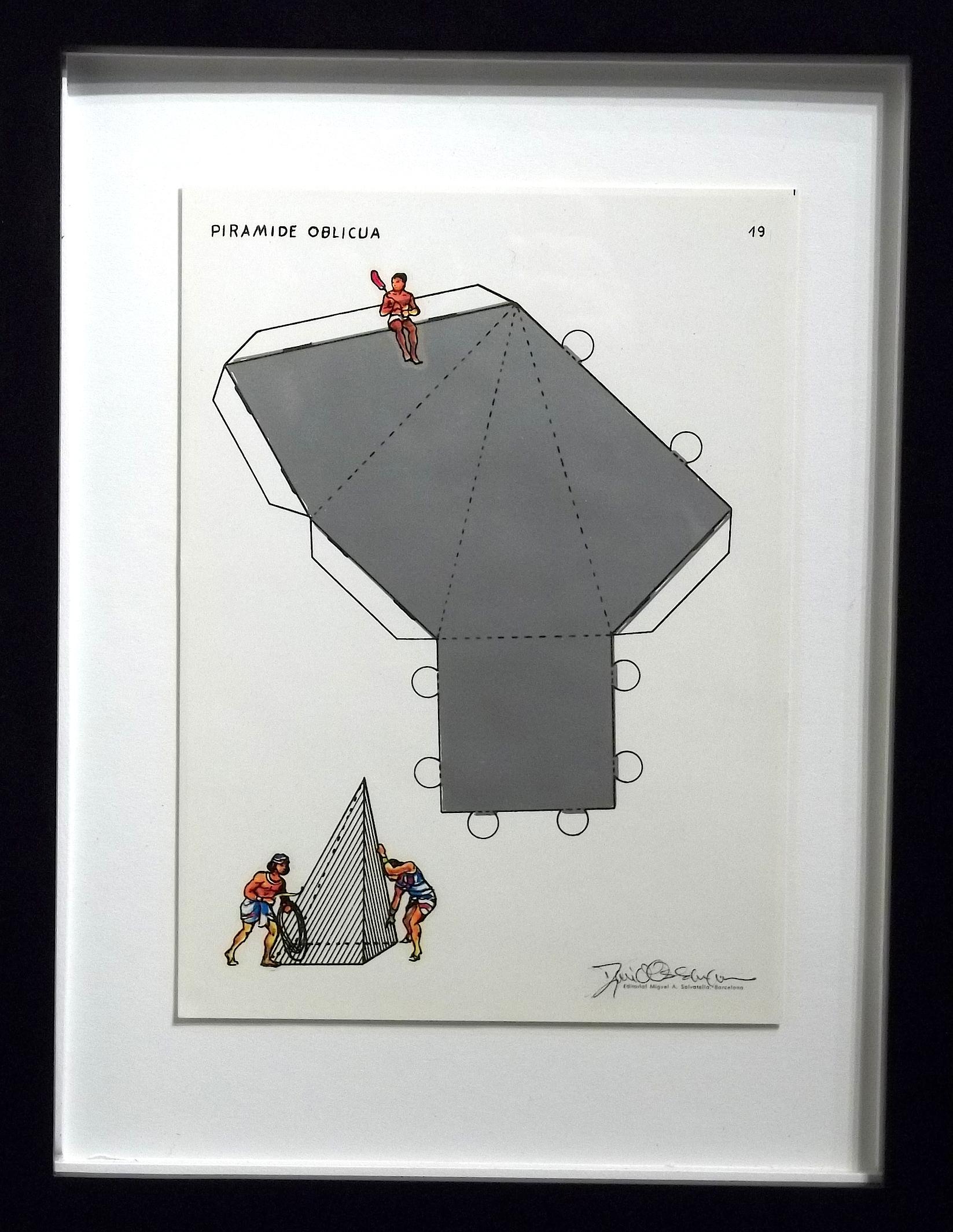 "Piramide Oblicua  vintage Spanish geometry workbook, transfer figures  9 x 7""  framed $250"