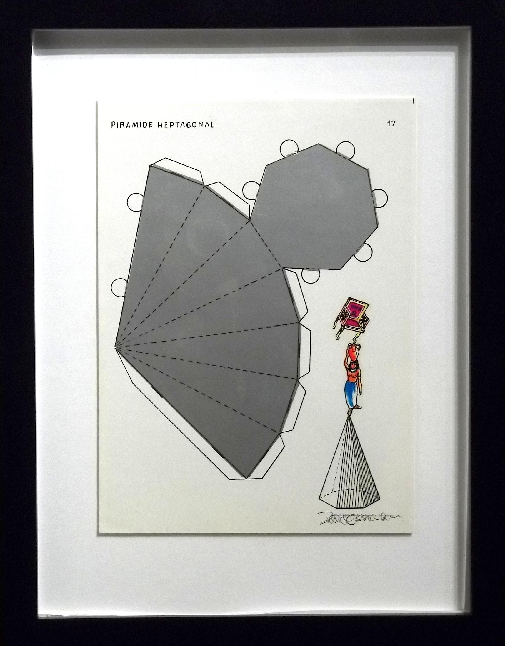 "Piramide Heptagonal  vintage Spanish geometry workbook, transfer figures  9 x 7""  framed $250"