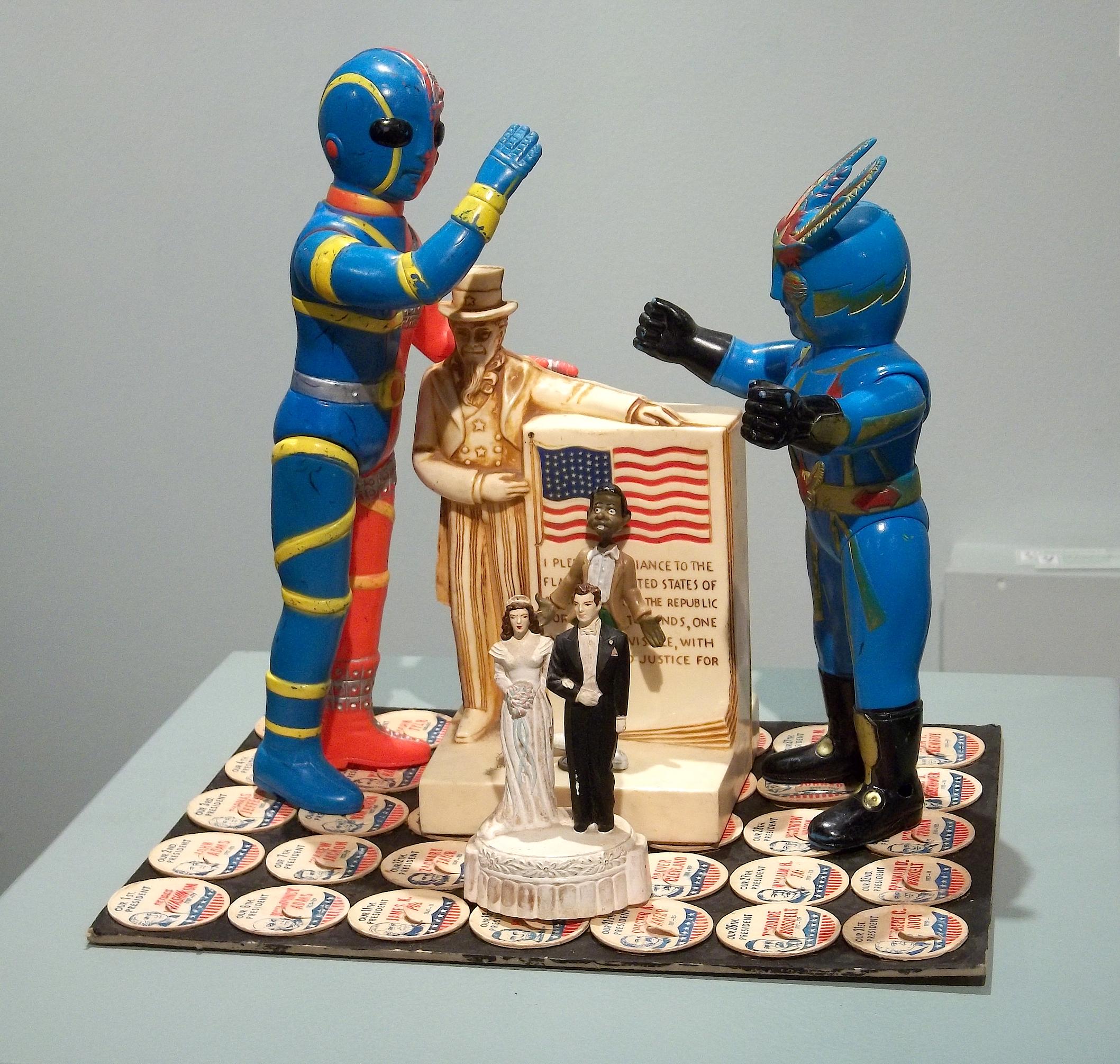 Aliens vs The American Way of Life  action figures, nightlight, plastic people, milk bottle tops NFS