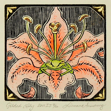 Gilded Lily  hand-colored linoleum block print