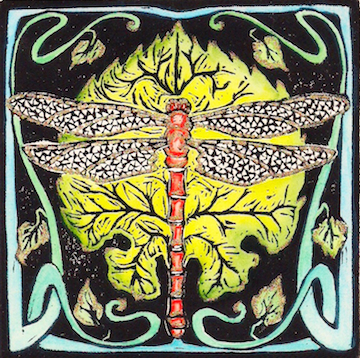 Meadowhawk  hand-colored linoleum block print