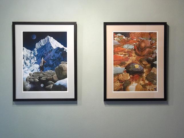 """Framed Open Edition Prints  .75"""" black wood frame, light grey or tan mat"""