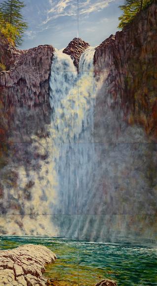 Snoqualmie Falls, August  vitreous enamel on steel