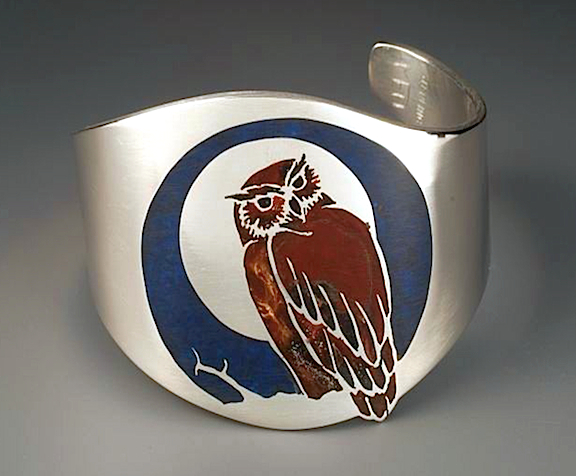 Owl Cuff Bracelet sterling silver with resin inlay