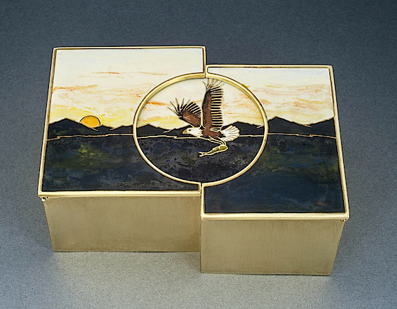 Eagle Treasure Box - brass with resin inlay