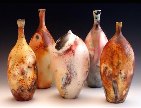 Pit Fired Porcelain Bottles