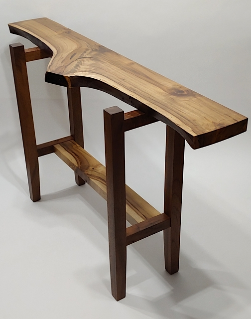 """Out Front"" Hallway Table  Oregon myrtle, walnut $2,400"
