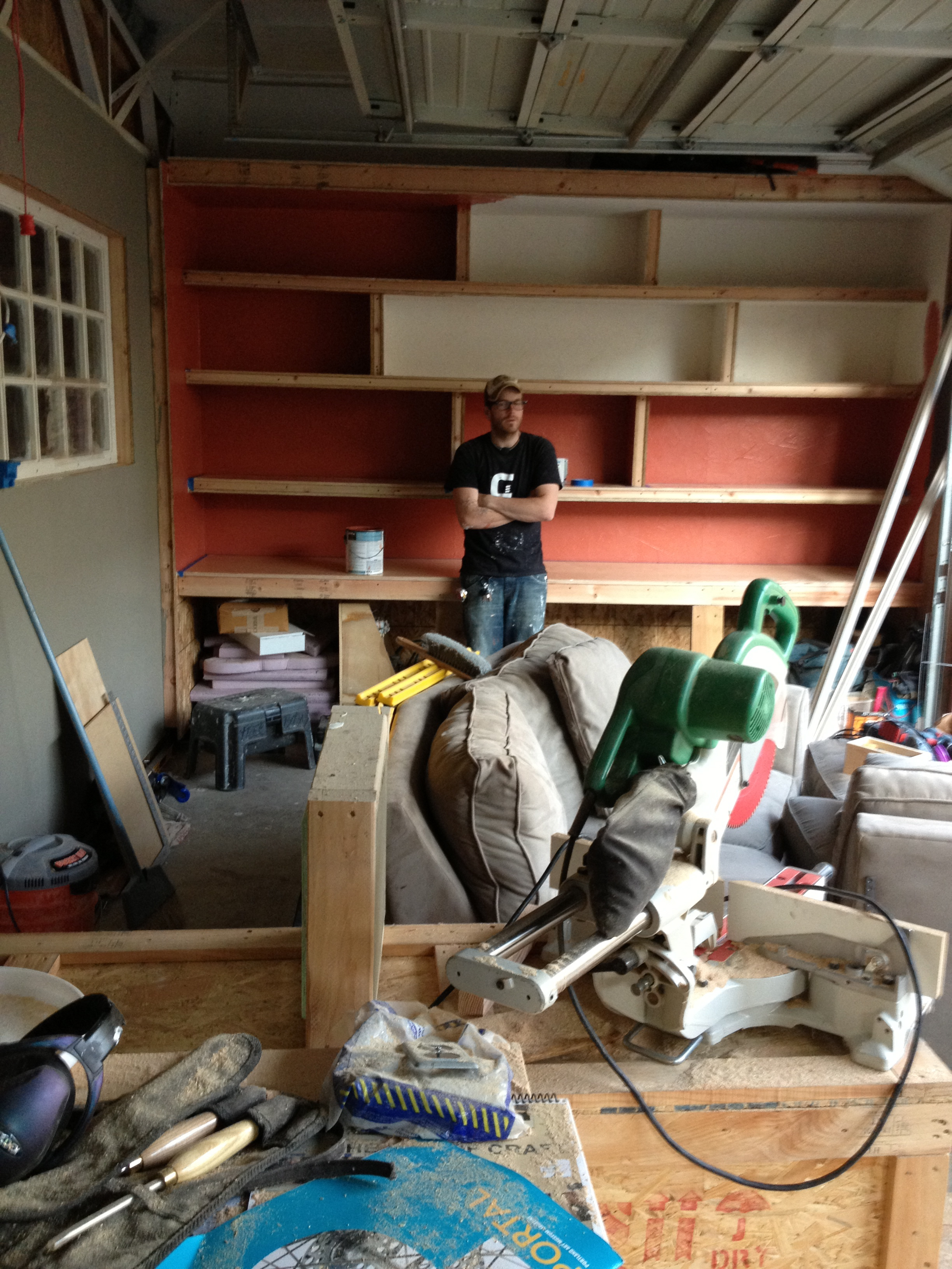 One of many build and think sessions while converting improvising a garage into a dwelling. Summer 2013