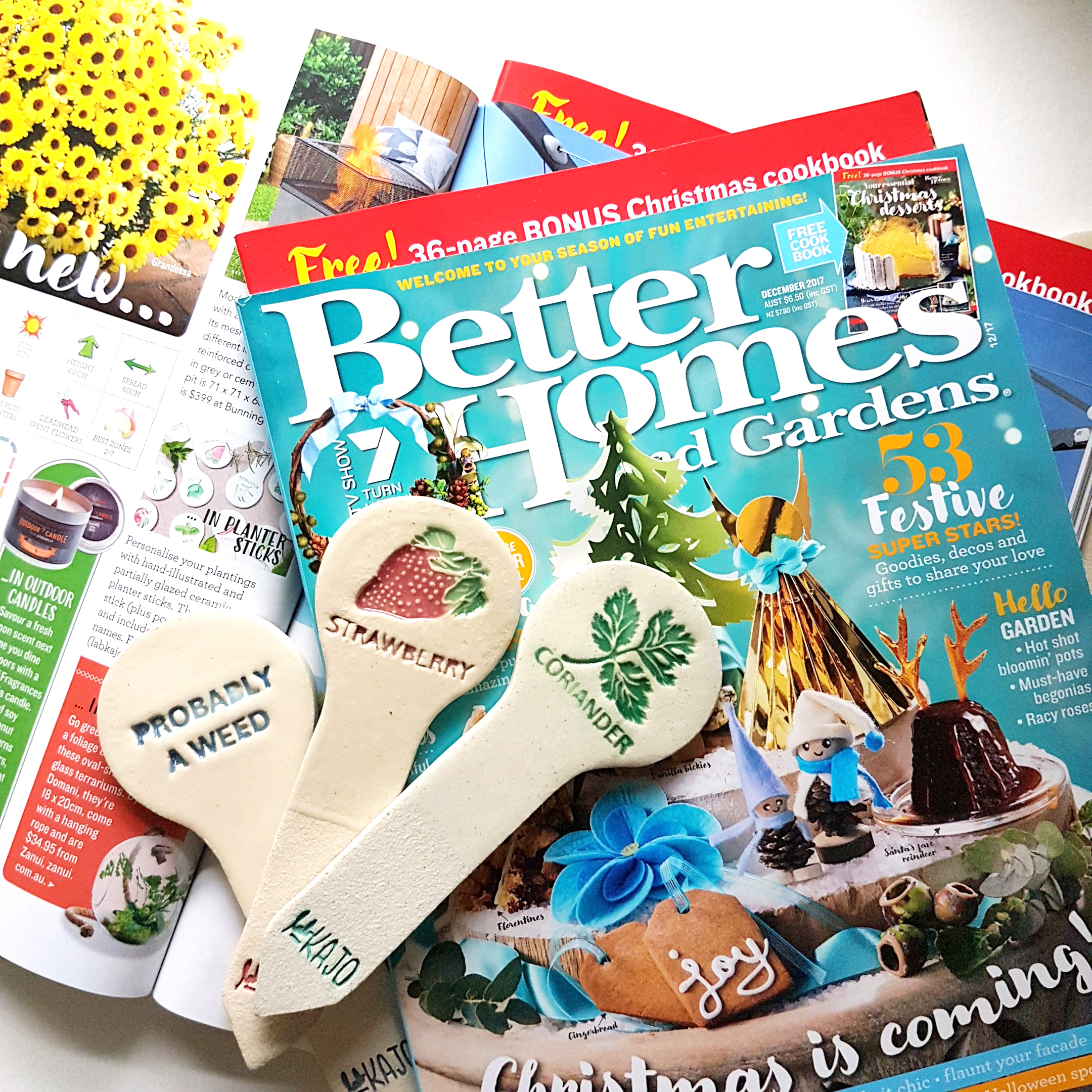 """Our planter sticks are featured on """"The Garden Diary"""" section of Better Homes and Garden issue Dec 2017."""