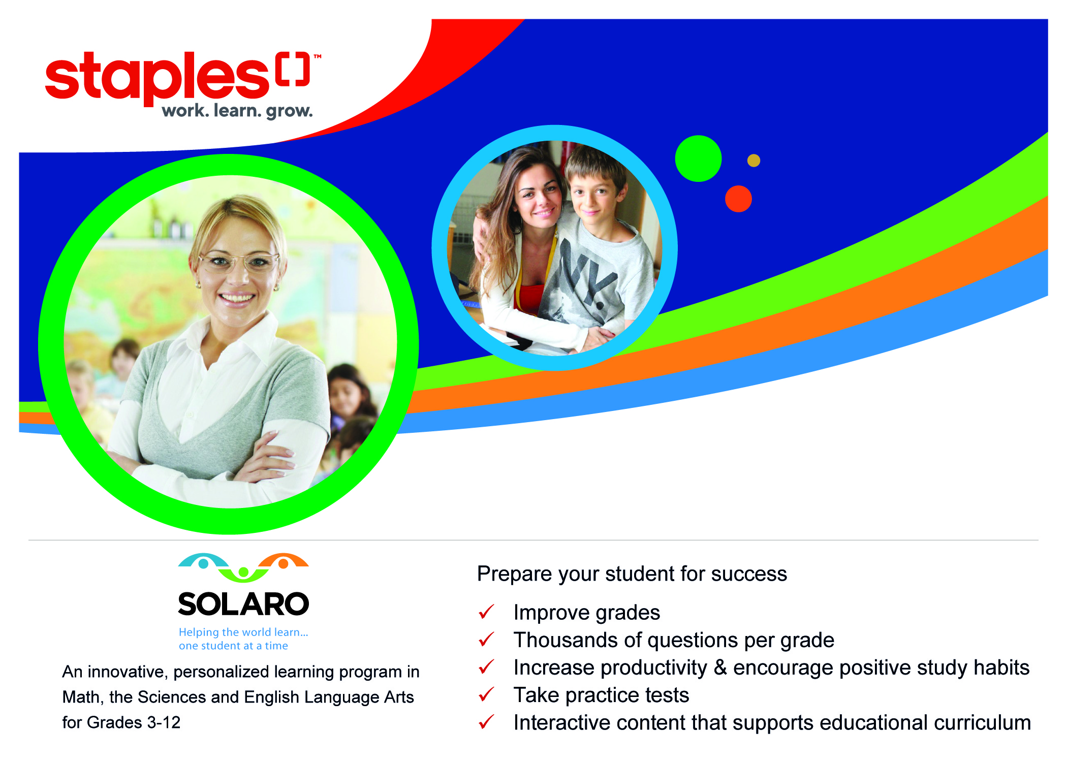 """Start studying faster with Staples! - Sign up for a one-year subscription and Save 75%. Please click on """"Get Your Account"""" and add SOLARO to your cart. When you reach the checkout page, please use the discount code: STAPLES2019."""