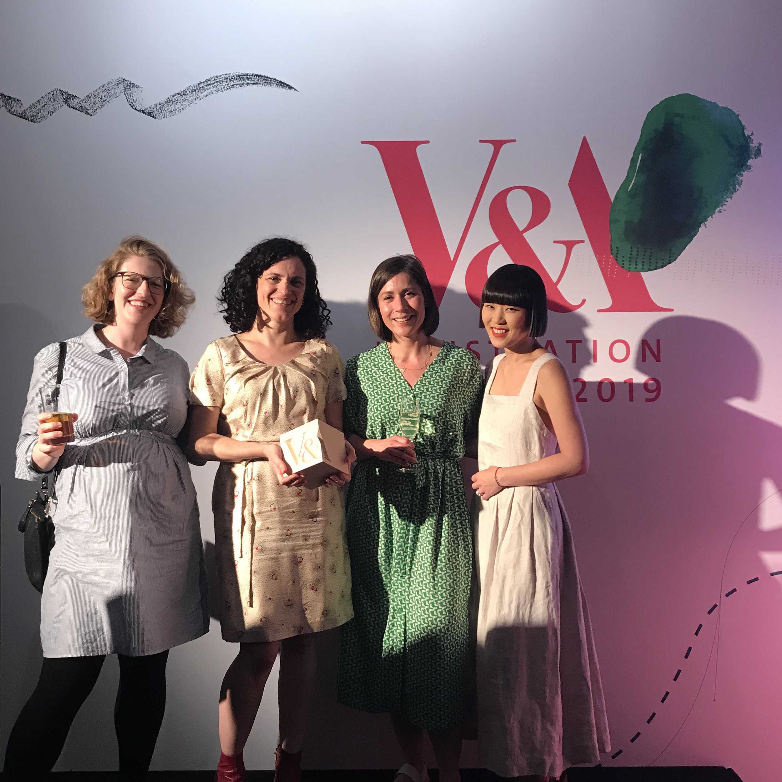 With the Virago team. From L to R. Sarah Savitt (Publisher), Donna Coonan (Editorial Director), Hannah Wood (Art Director)