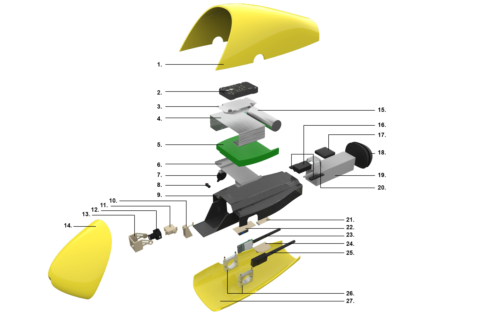 Exploded view of the Ambulance Drone's body, the heart and brains of the machine. Not only for its flying capabilities, but also for the integration with the AED and live communication.