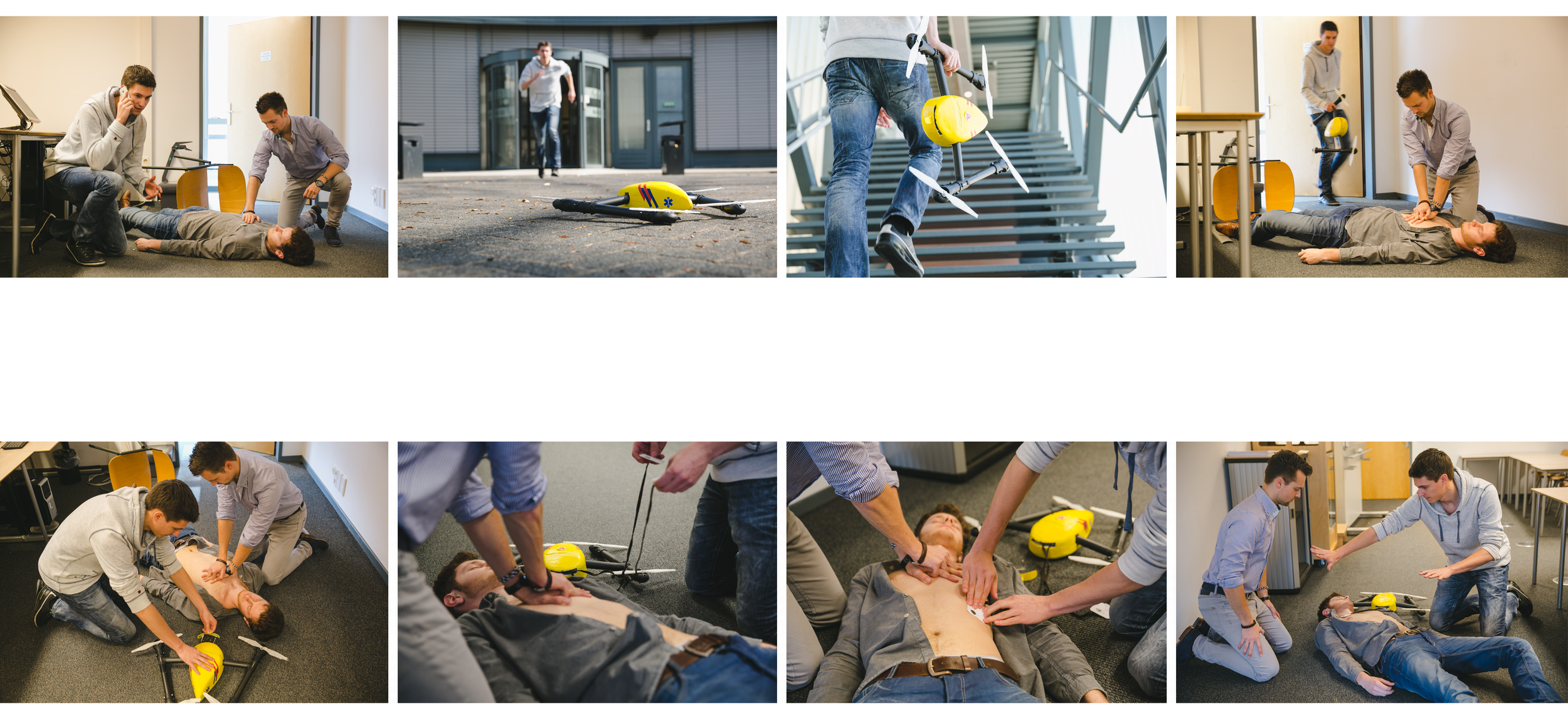 Use case scenario of the ambulance drone in the case of a cardiac arrest. (click to enlarge)