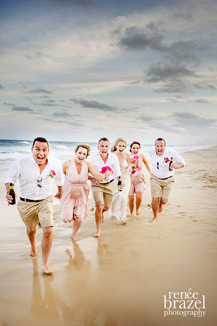 I am lucky to splash around in water for my job occasionally. Well, I was saturated after this shoot at Sunshine Beach in QLD. Fab couple and bridal party who weren't scared of getting wet, or having alot of fun!