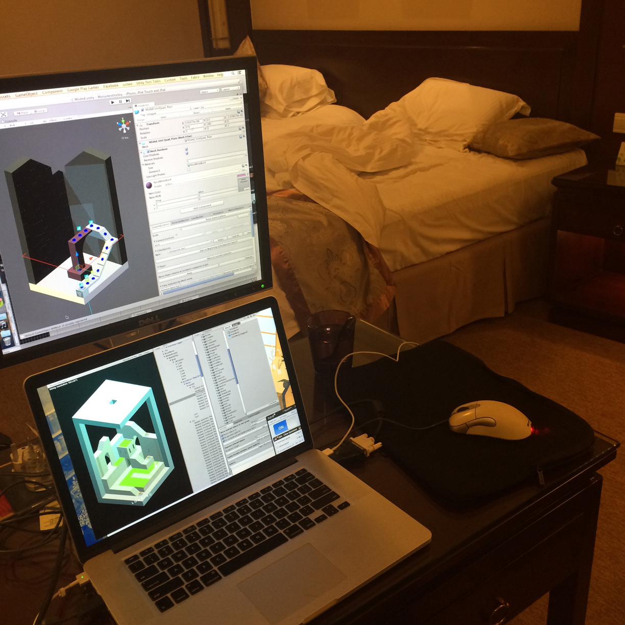 Doing an art pass on The Oubliette from a hotel room in Shanghai with a borrowed monitor