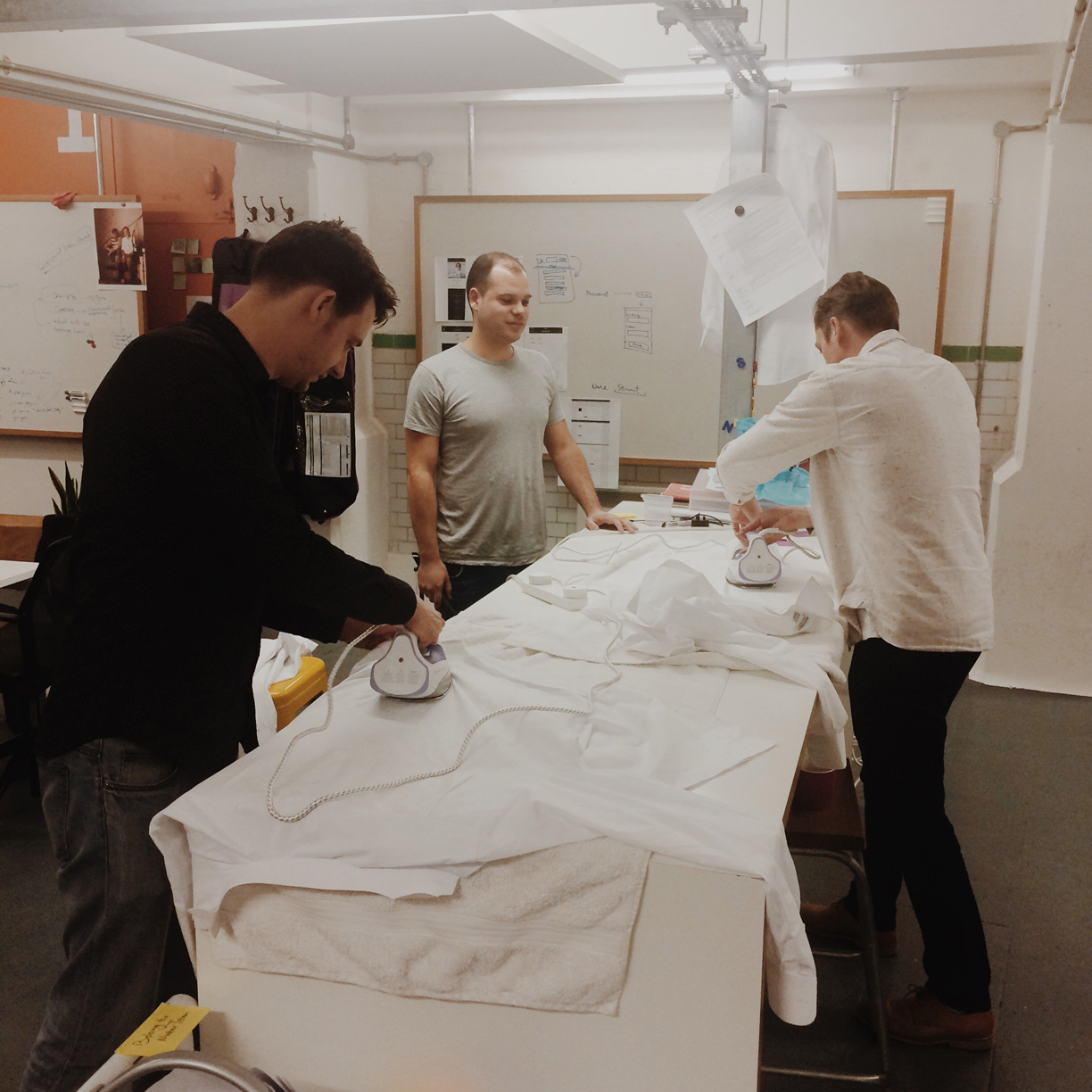Ironing our shirts at the studio just before BAFTAs