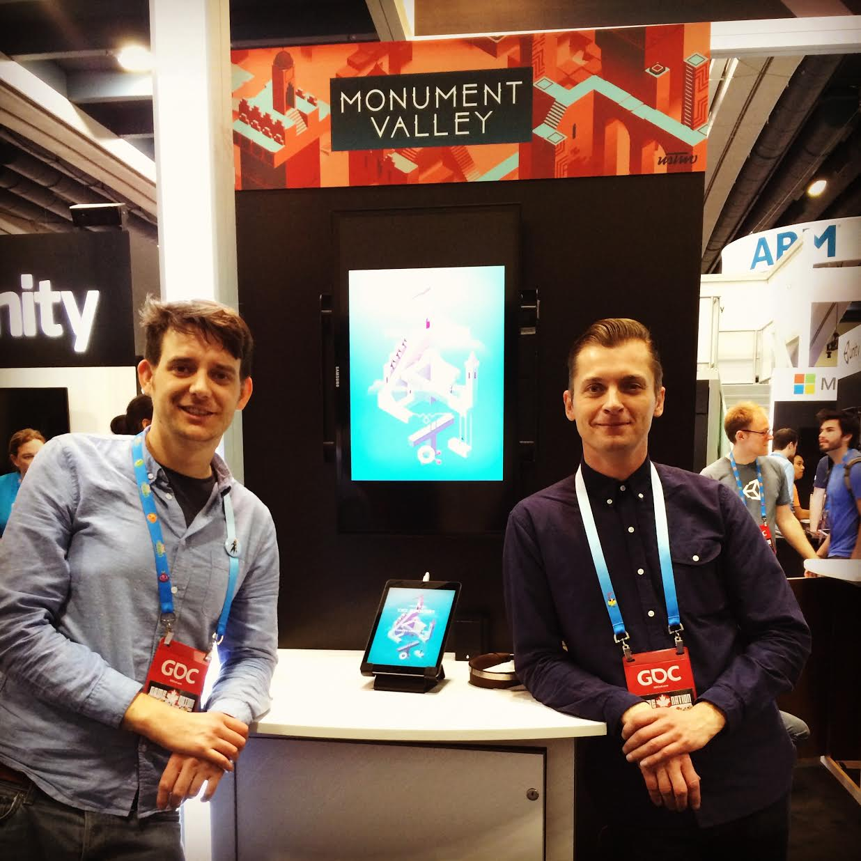Pash and Neil demoing MV at GDC 2014, a few weeks before release. Pash spent the previous day hacking the game to display sideways on a display set to landscape.