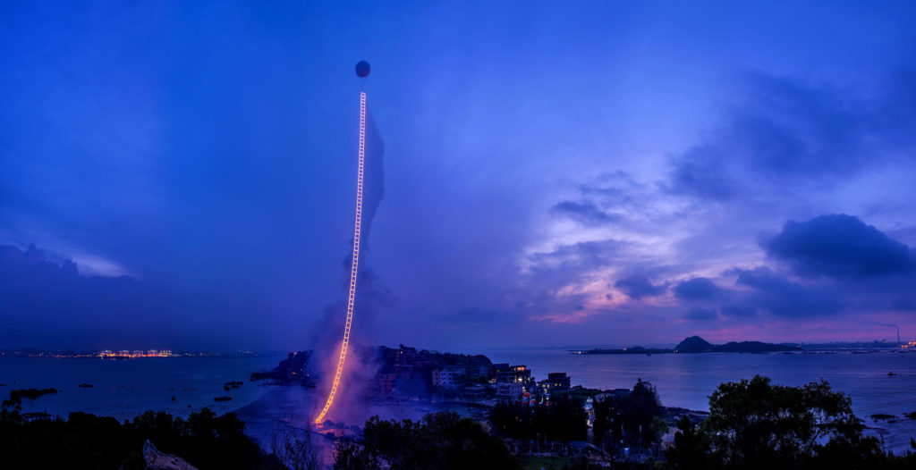Cai Guo Qiang,  Sky Ladder  (2015). Courtesy of Cai Studio/Netflix.