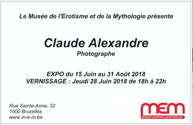 Organisation d'une exposition de Photos de Claude Alexandre au Musée de L'Erotisme et de la Mythologie à Bruxelles