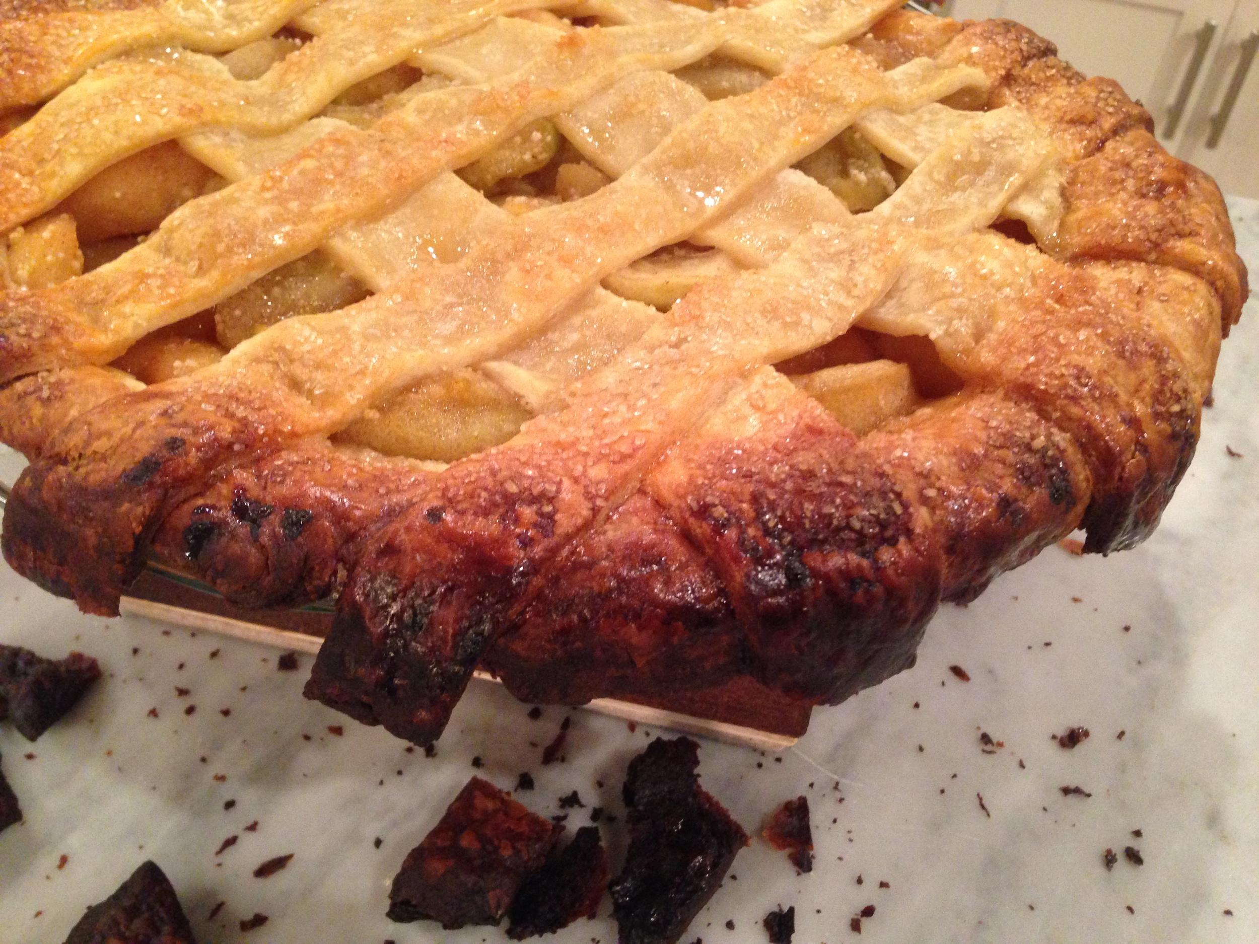 crispy, deep dish bourbon apple pie