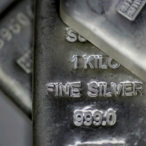 Photo of silver ingots, which Specialty Metals recycles from currency and silverware.