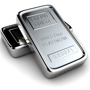 Photo of platinum bar, which Specialty Metals refines and recycles from resins containing platinum.
