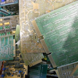Photo of gold-plated circuit boards that that Specialty Metals customers have shipped to us for recycling and refining at the best prices.