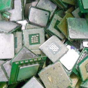 Photo of silicon CPU chips that Specialty Metals customers have shipped to us for recycling of precious metals at the best prices.