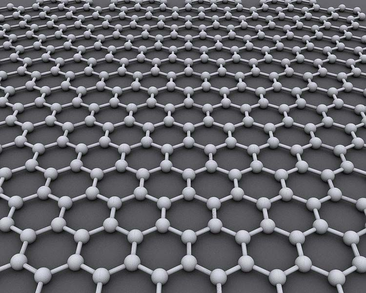 Shown: Graphene is an atomic-scale honeycomb lattice made of carbon atoms. Image Credit: AlexanderAIUS, via Wikimedia Commons
