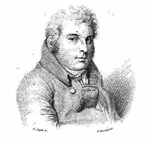 """A portrait of Luigi Valentino Brugnatelli (1761-1818), the father of gold electroplating, from """"Cenni su la vita di L. V. Brugnatelli"""" Biblioteca di farmacia (1836 gen, Serie 2, Volume 5)"""