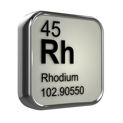 Shown: the periodic table symbol for Rhodium, element 45, which is very valuable and can be recycled and refined by Specialty Metals.