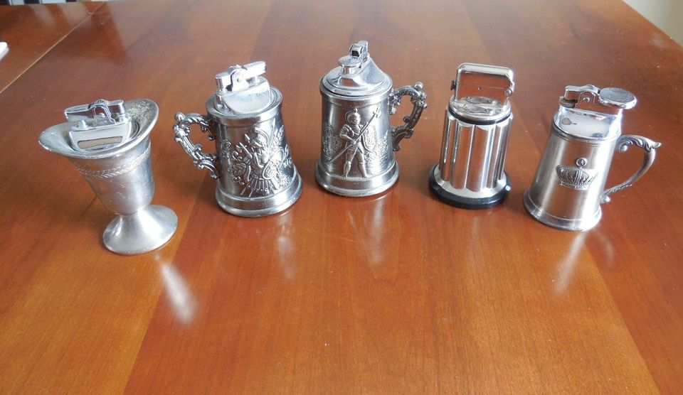 Shown: antique tabletop lighters which can be recycled and refined along with other silver and silver-plated trophies, rings and beer steins by Specialty Metals.