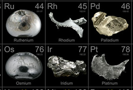 Platinum Group Metals from The Periodic Table of Elements Poster, available From Theodore Gray at http://periodictable.com/