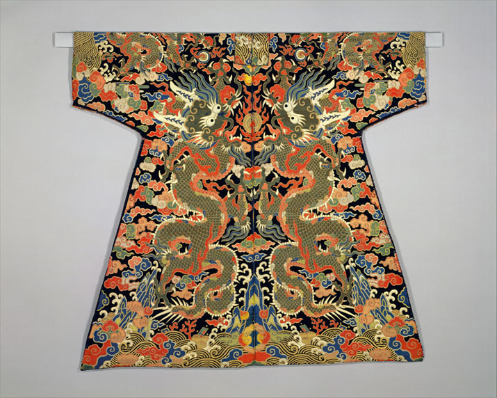 """Shown: Velvet Textile for a Dragon Robe, from the Metropolitan Museum of Art, """"Chinese Textiles: Ten Centuries of Masterpieces from he Met Collection. Purchase, Friends of Asian Art Gifts, 1987."""